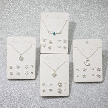 Korean four-leaf clover weekly pearl heart-shaped necklace female fashion star stud earrings necklace set jewelry