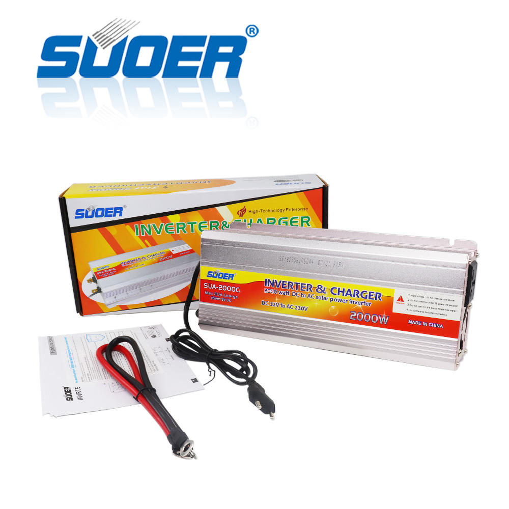 Suoe 2kw 12V dc to 230V ac inverter 2000W power inverter modified sine wave inverter with charger