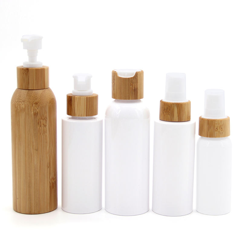 New Refillable Plastic Perfume Bottle Containers With Bamboo Cover / Water Cosmetic Lotion Shampoo Bottle 60ml 100ml 150ml