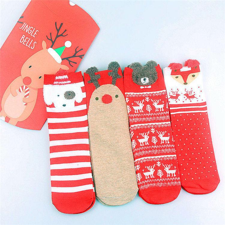 2020 Navidad temporada en-stock 3D animales de dibujos animados rayas Calcetines regalo de Navidad conjunto