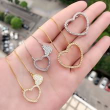 New design zirconia 18K gold heart-shaped silver and 18K gold ladies necklace