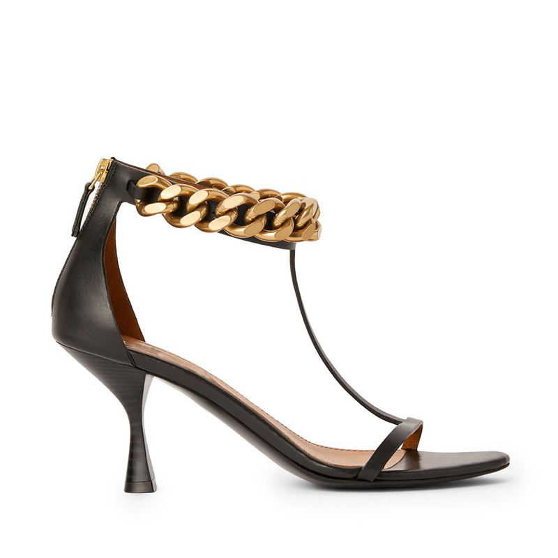 WETKISS 2021 Newest Design Spring Summer Shoes High Heel Sandals Round Toe Black T Strap Sandals Women Chain Sandals OEM
