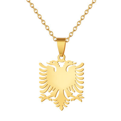 Amazon Hot Koop Pvd 18K Real Vergulde Ketting Ketting Albanië <span class=keywords><strong>Vlag</strong></span> Eagle Hanger Mannen Rvs Kettingen