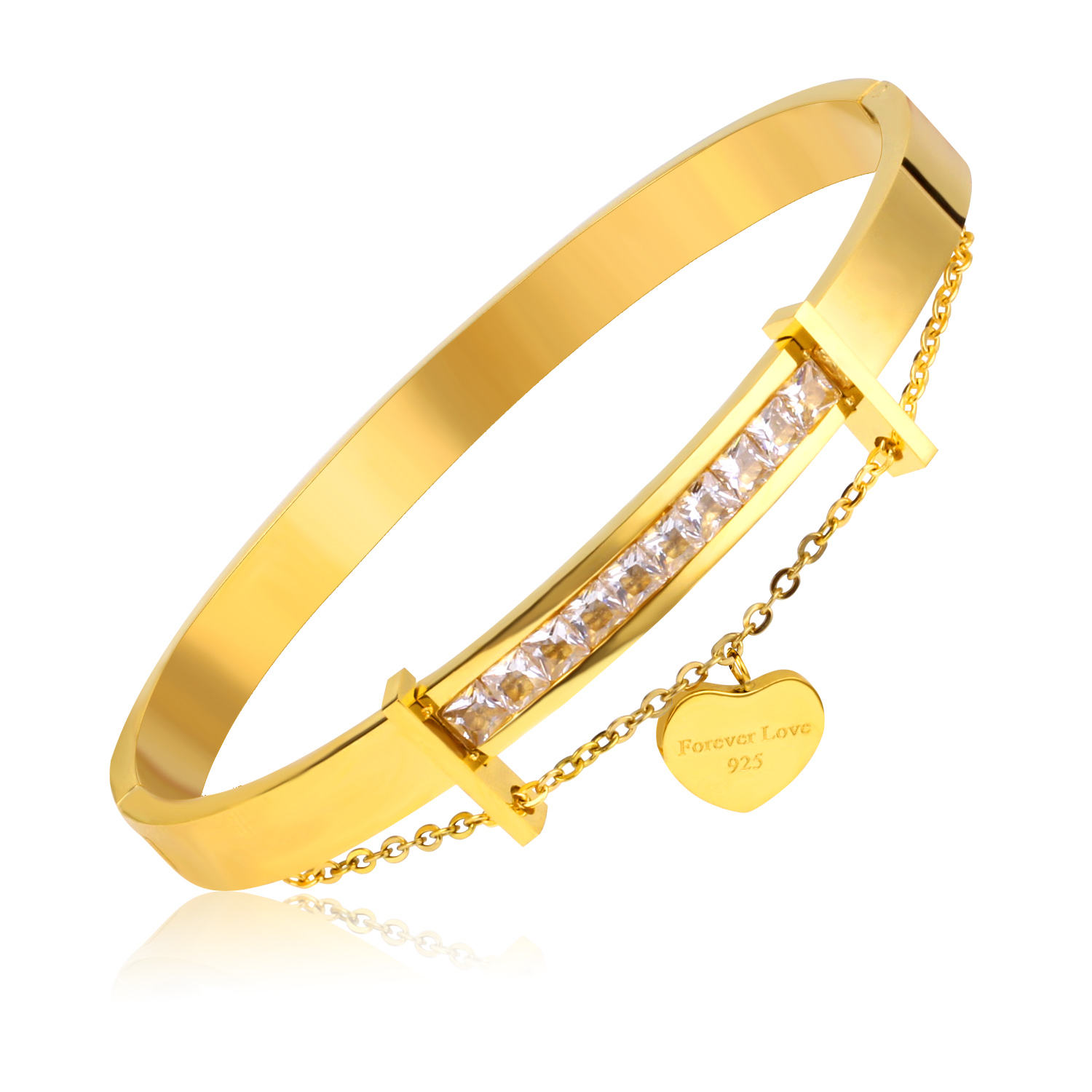 Fashion Asonsteel crystal bracelet jewelry high quality hard gold plated bracelet bangle for men and women