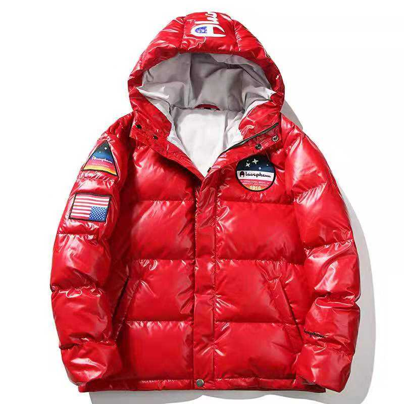 High quilted Custom Design Hooded Orange Puffer Coat Mens Down Jacket