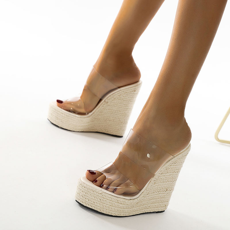 PVC Women Shoes Summer High Heels Pleated Slippers Round Toe Slides Outsid 2021 NEW Elegant Wedges Sandals Femmes Chaussures 42
