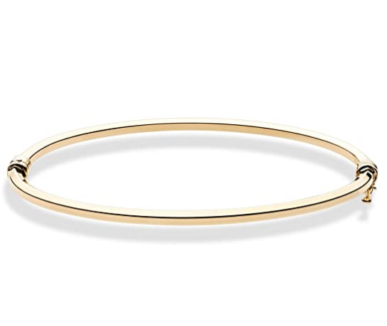 Fashion 18K Gold Over Sterling Silver Hook Oval Hinged Bangle Bracelet for Women and Girls