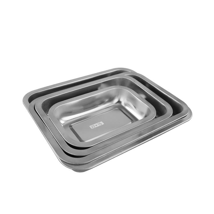 High quality buffet restaurant used multiple sizes rectangle stainless steel bbq food serving tray