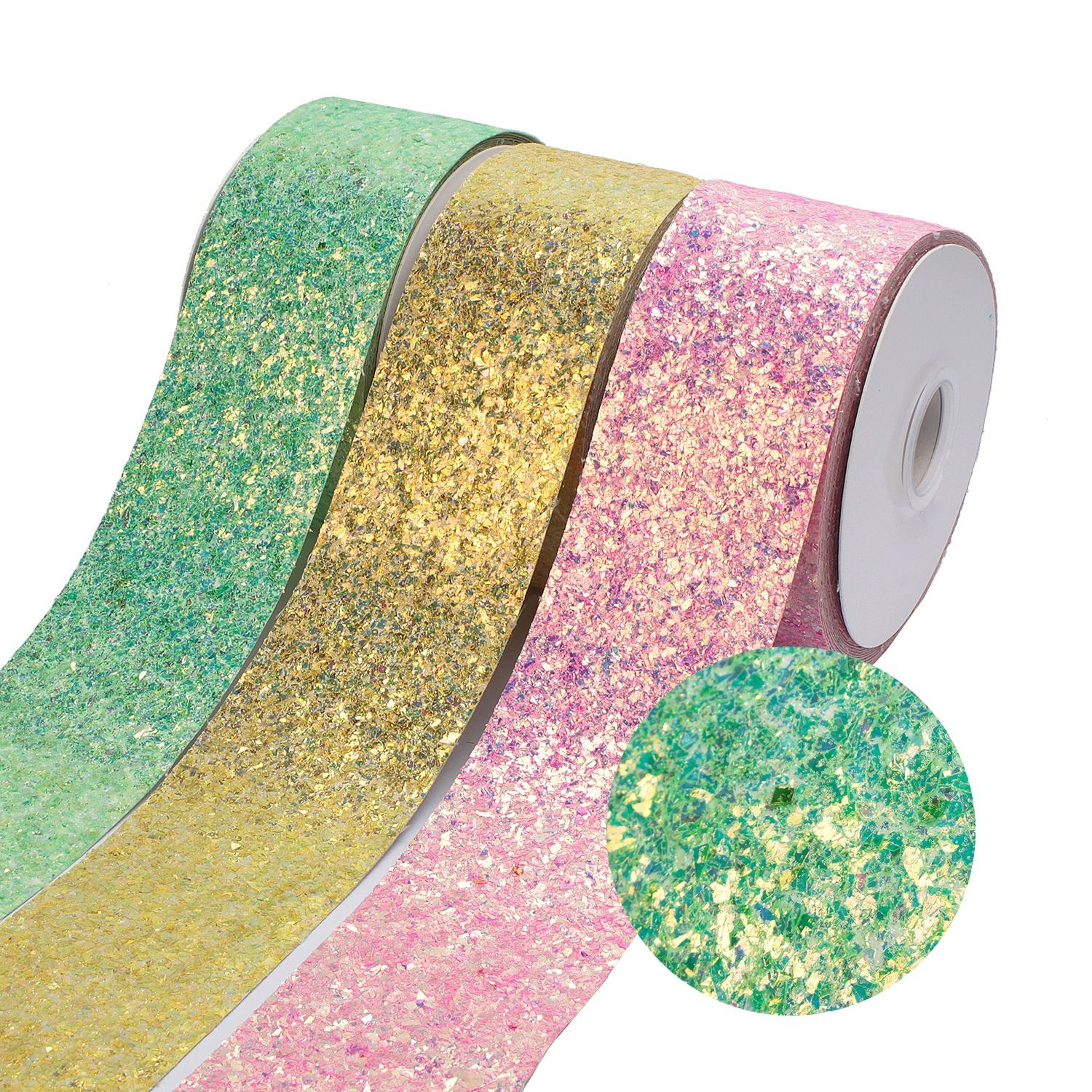 Bling Bling Chunky Printed Rolls Glitter Faux Leather Vinyl Ribbon For Hair Bows