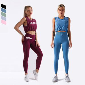 Wholesale Sports Gym Clothing Seamless Activewear Women Vest Leggings 2 Piece Yoga Set