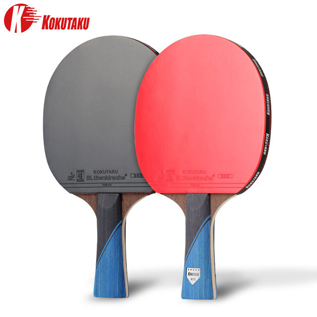 KOKUTAKU a Pari OEM Custom Print Logo 5 Stars Professional Table Tennis 2 Racket Set Ping Pong Carbon Fiber Bat Paddle