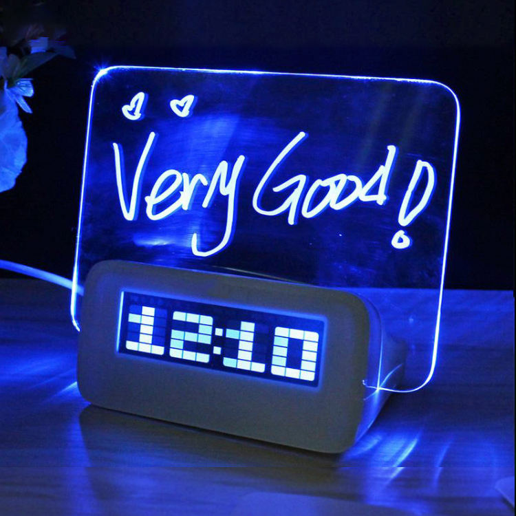 LED Green Blue Fluorescent Calendar Night Light Message Board Digital Alarm Clock