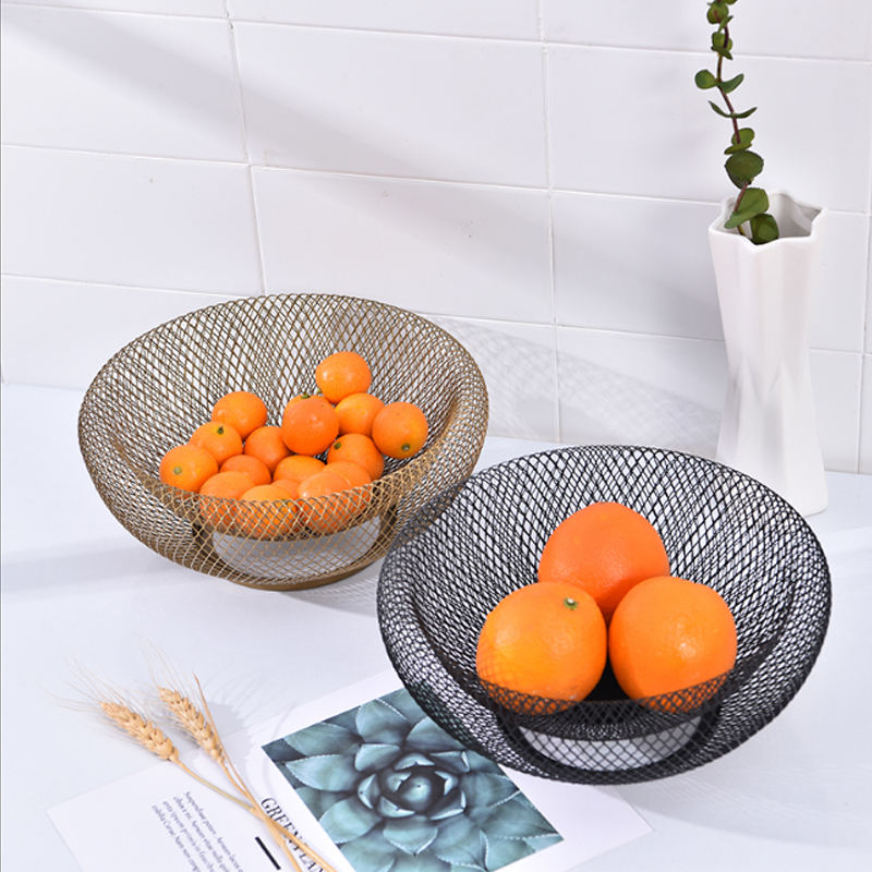 Creative wholesale custom metal and marble fruit bowl