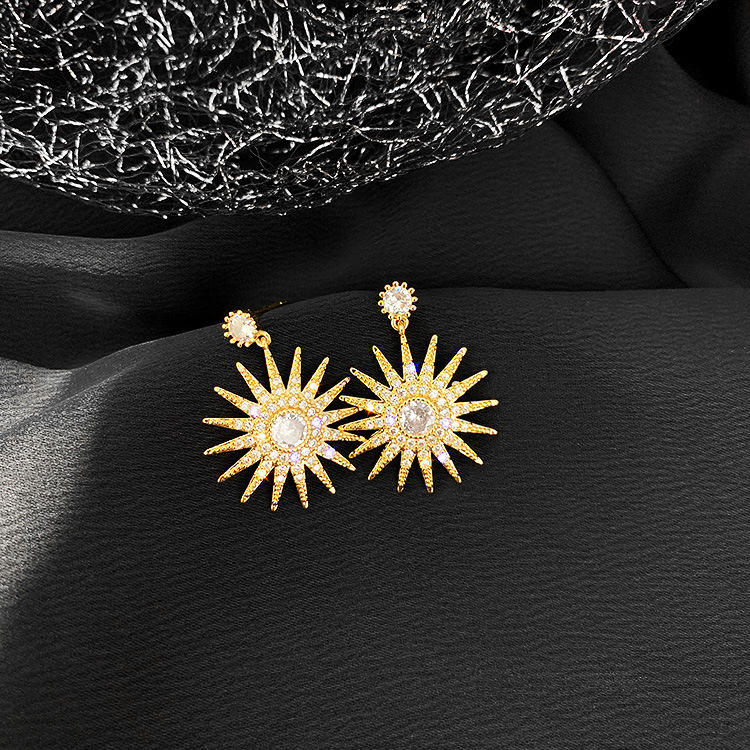 Hot sale gold zircon sun flower drop earrings micro pave cz earrings for girls and women