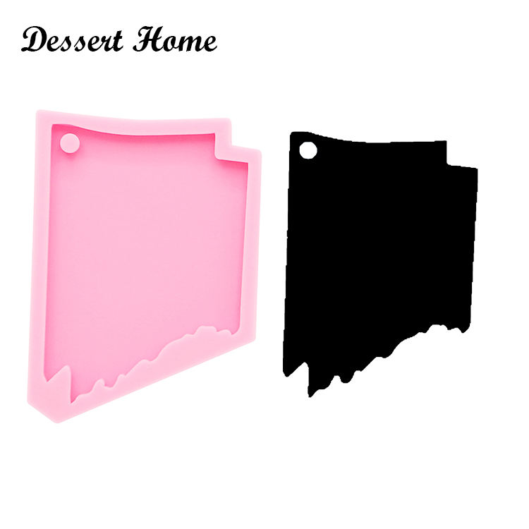 DY0205 Shiny silicone Arkansas state shape keychain Mold state form DIY epoxy resin molds for jewelry silicone keychain molds