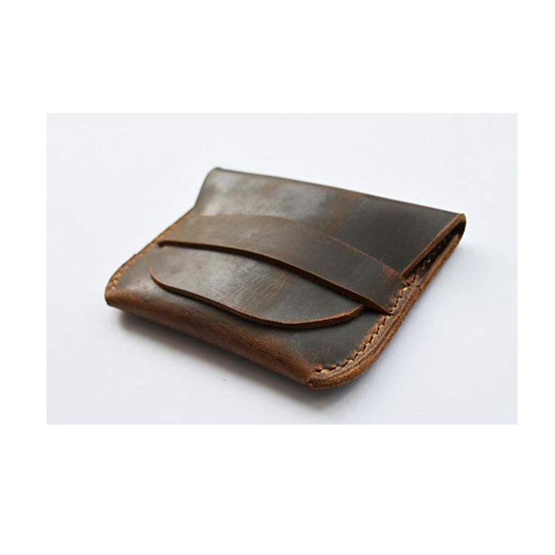 Hot Selling Customized Logo Brown Genuine Leather Handmade Coin Pouch Purses wallet