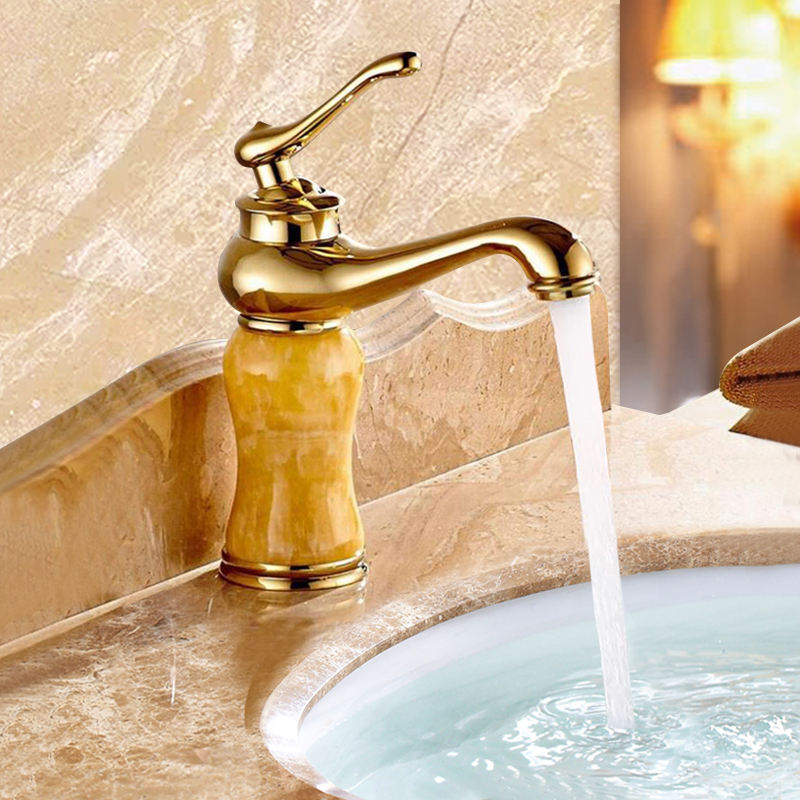 Single Level basin tap Gold bathroom faucet plated Deck Mounted basin faucet Basin Mixer
