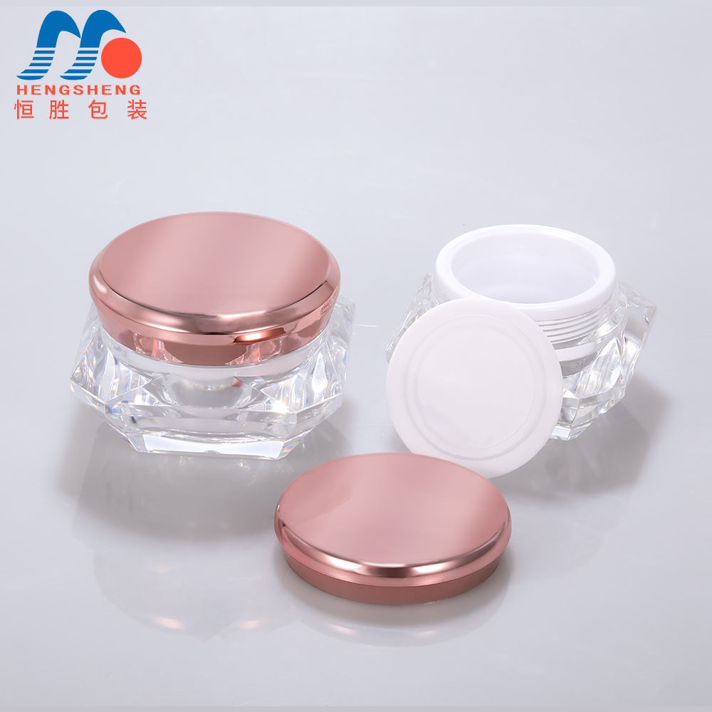 Hengsheng factory wholesale custom plastic acrylic rose gold cosmetic cream diamond shape jar