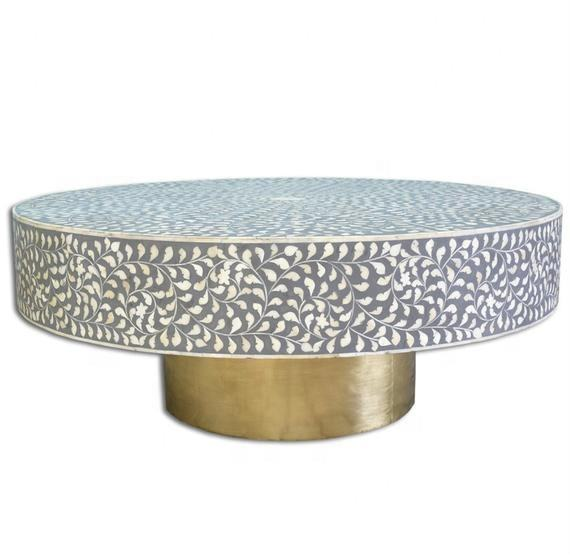 Hot Sale Bone Inlay Round Floral Coffee Table with Brass Base Bone Inlay Furniture Handicraft from India