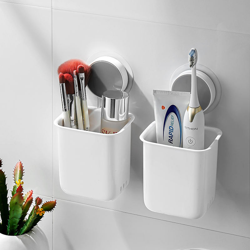 Drill-Free Wall Mounted Removable Multifunctional Vacuum Plastic Suction Cup Toothbrush Holder For Bathroom Accessories