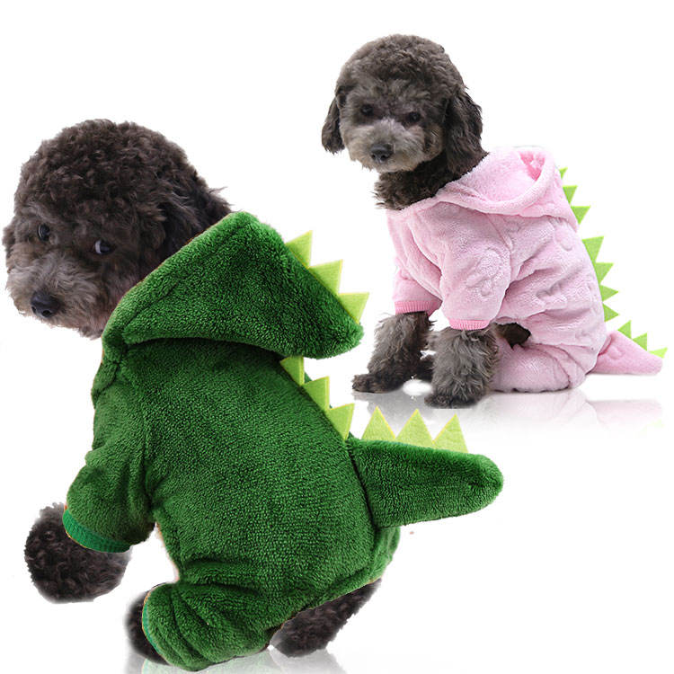 dinosaur four legged transformed warm wholesale custom designer apparel pet cat dog clothes pink green dog sweater