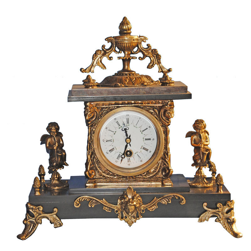 Antique Bronze Table Clock With Boy Angel Statue