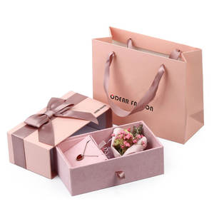 Luxury Unique Custom Logo Paper Jewellery Gift Packaging Drawer Box Bracelet Necklace Ring Earing Pink Velvet Jewelry Box