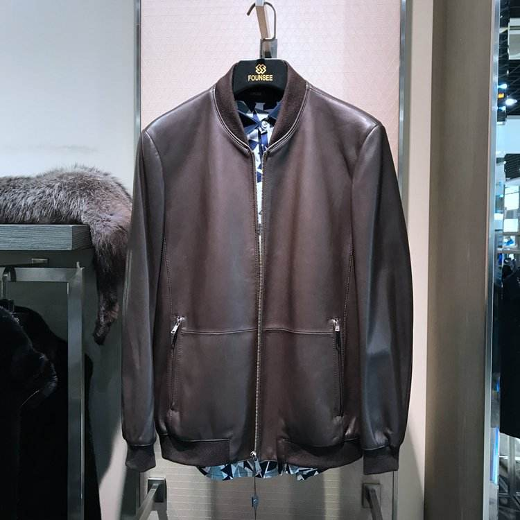 Wholesaler Men's Fashion genuine leather lambskin jacket for winter