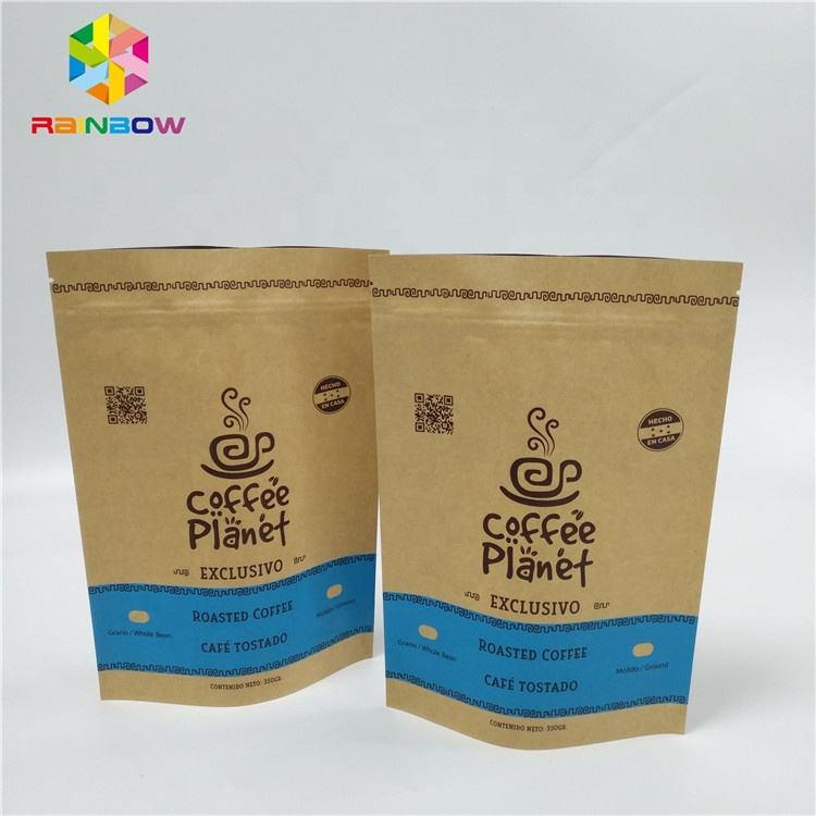 Recycle standard paper bags sizes custom printed brown kraft paper bags doy pack tea coffee bag packaging with zipper
