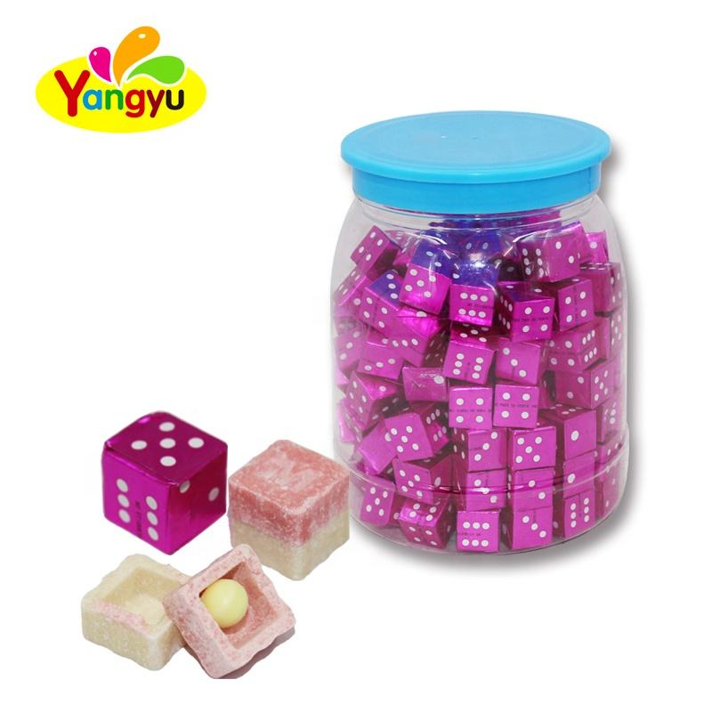 Sweet Fruity Dice Cube Bubble Gum Center Filled Candy