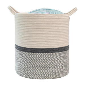 Latest design eco-friendly cotton rope woven handmade custom laundry storage basket bag