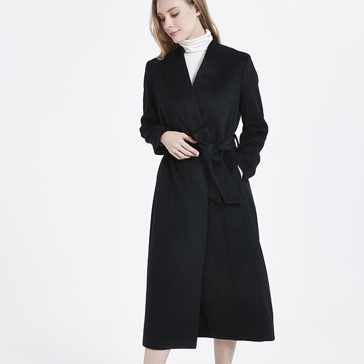 New fashion casual long trench ladies winter 100% cashmere coat with belt