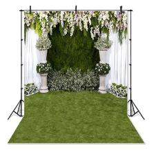 Flowers Curtain Green Grass Backdrop for Photography Wedding Bridal Shower Photo Studio Background