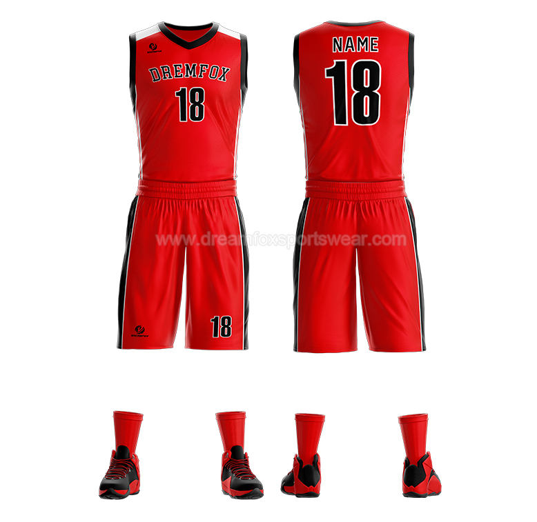 sublimated sample basketball uniform design, red basketball jersey dresses for women wholesale mens basketball shorts