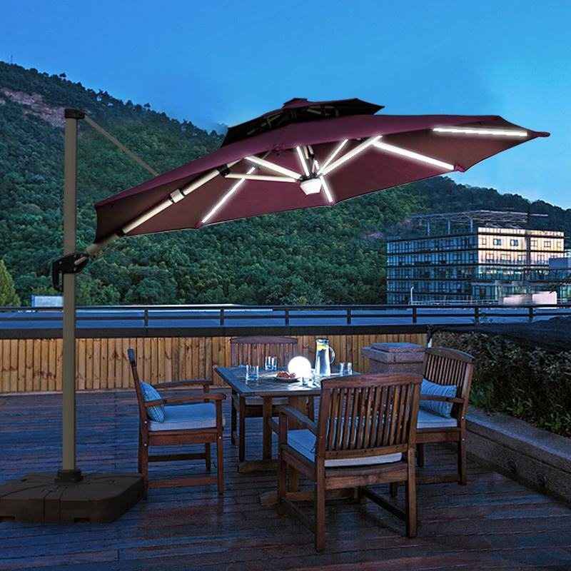 Outdoor Bluetooth Audio Roma Umbrella Waterproof Cantilever Garden Beach Patio Sun Canvas Parasol Aluminum Umbrella Restaurant