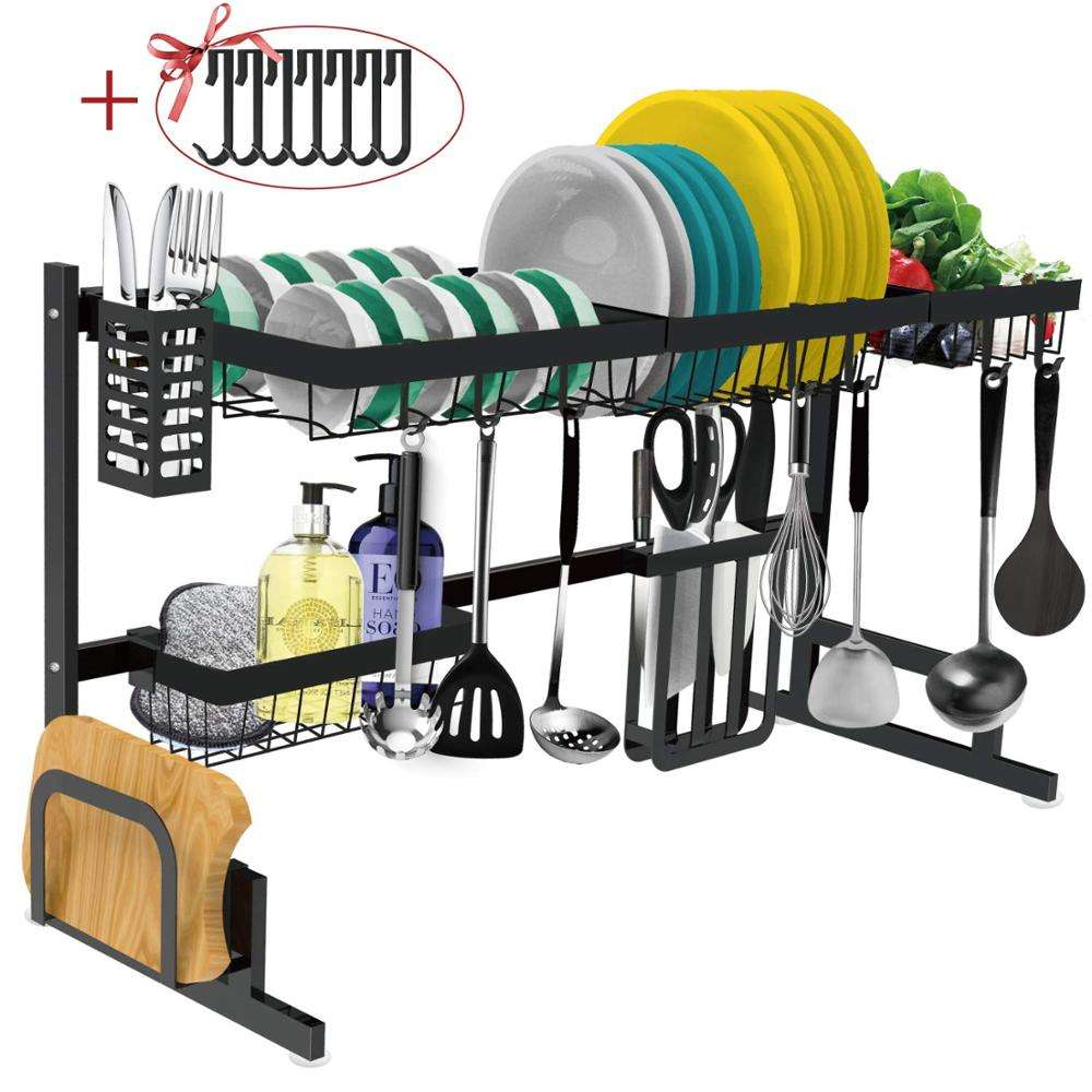 Multifunctional 2-Tier Stainless Steel Dish Rack Drainer Dish Drying Rack With Utensils Holder for Kitchen Sink Countertop