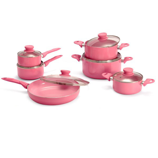 12PCS memory pink ceramic coating fry pan saucepan saucepot kitchen cooking pans high quality Cookware Set