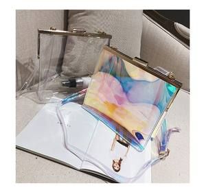 Fashion transparent clear big large purse handbag glitter plastic pvc shoulder crossbody bag for women