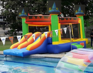 Komersial Sewa Kelas Bouncy Castle Combo Double Jalur Inflatable Water Slide