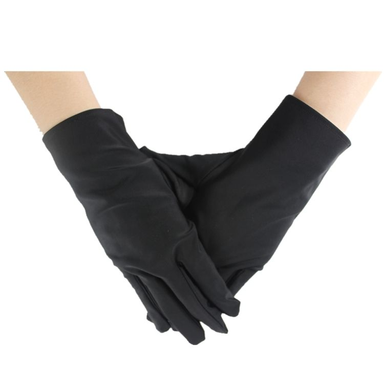 Premium black and white breathable polishing luxury jewel display gloves, microfiber lycra jewelry gloves