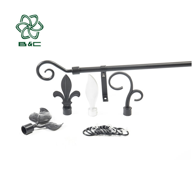 Hot sale america steel curtain rod pole for bay window plastic metal curtain tube
