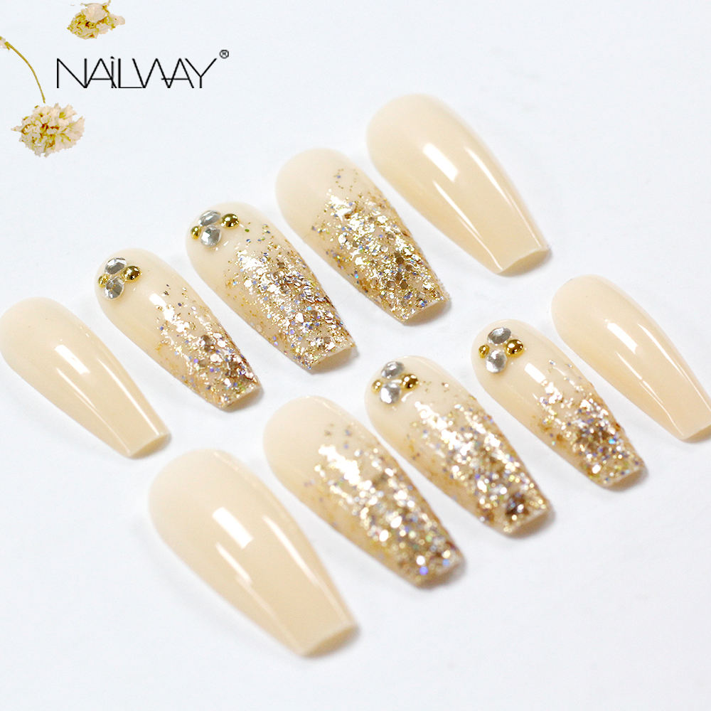 2020 New Glitter False Nails Designed Lange Sarg nägel Benutzer definierte Großhandel Ballerina Private Label Press On Nails Verpackungs box