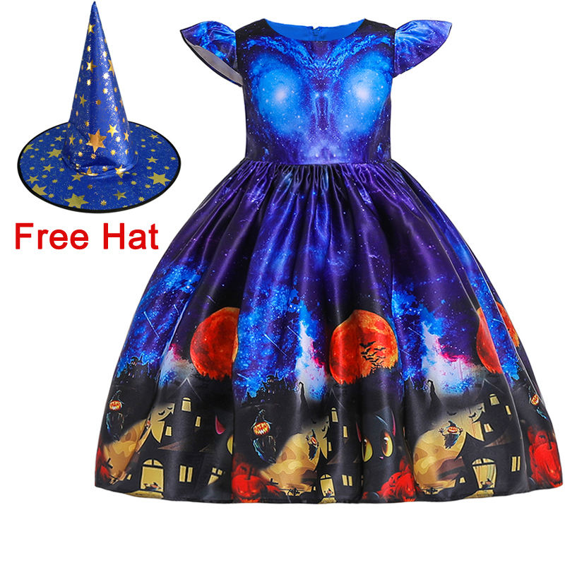 2019 New arrival Halloween cosplay costume kids party dress girl printed cute frock WS002