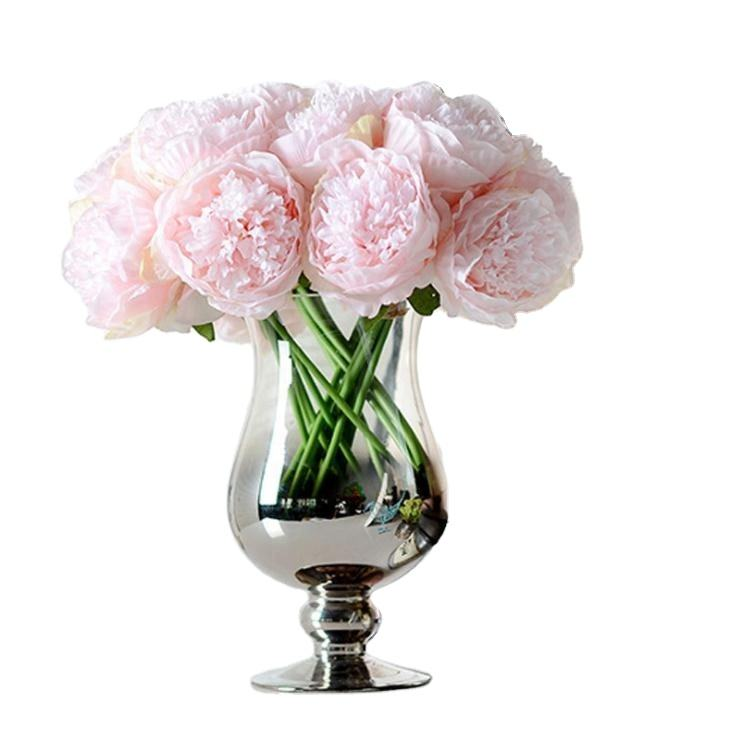 High quality silk bouquet artificial peony flower for wedding decoration