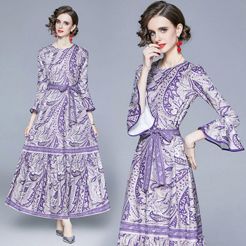 QP6139073# new foreign trade women's clothing Europe and America fan Xian thin lace-up waist printing dress