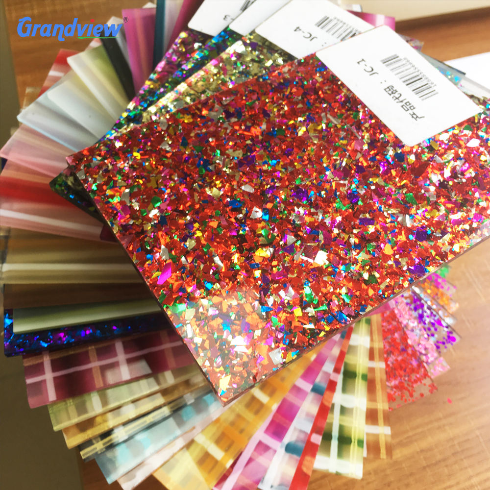 Custom Cutting 1mm acrylic sheet with glitter