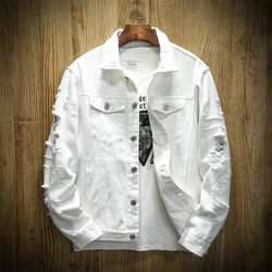 Cool Distressed Man Denim Jaket Botton Gents Coat Long Sleev