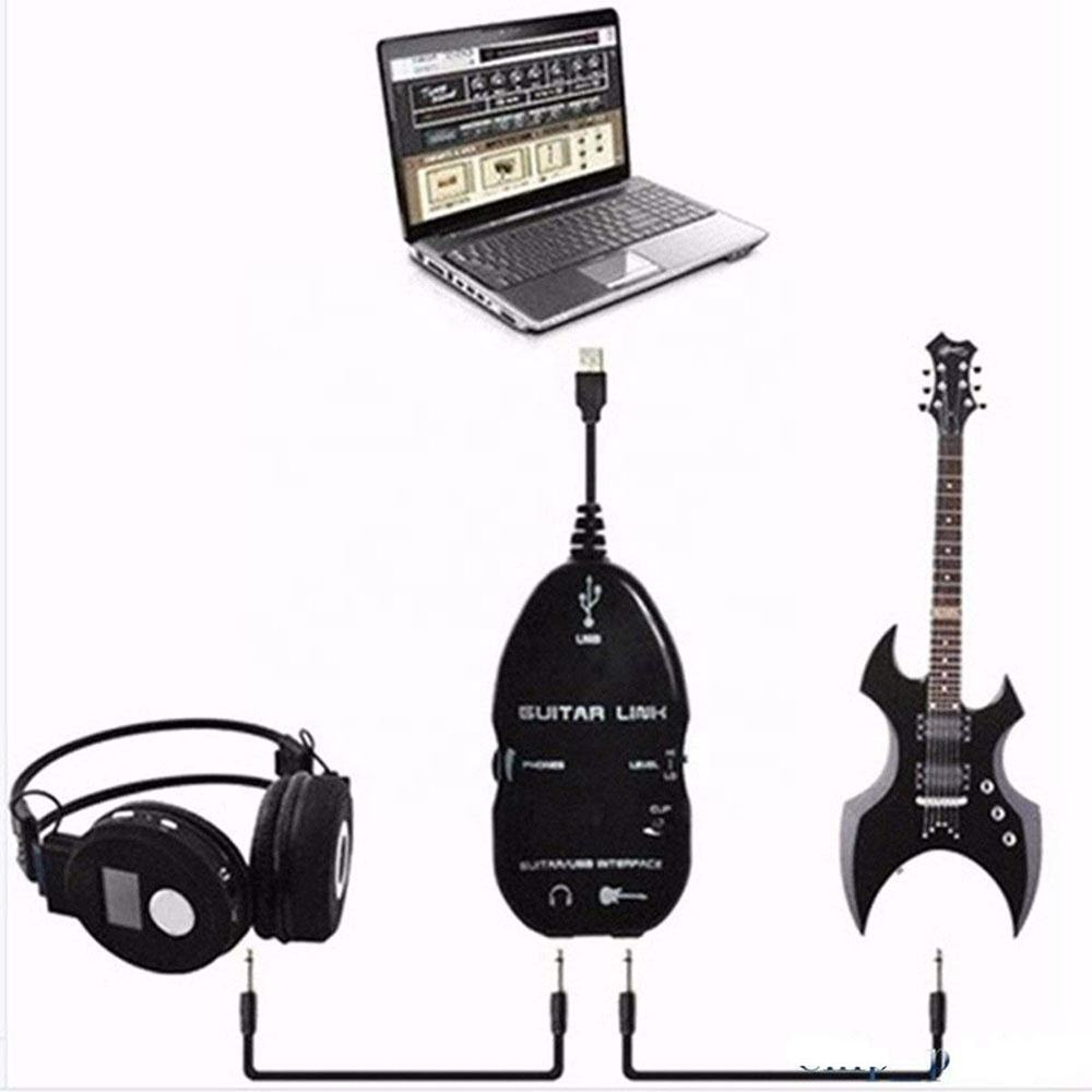 Doonjiey USB Guitar cable, Guitar to USB Interface cable PC Audio Recording Adapter Cable Connector Cord