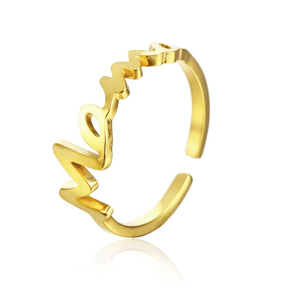 18K Gold Plated Alphabet Name Rings Custom Personalized Nameplate Cuff Ring Stainless Steel Jewelry Women Wholesale Jewellery