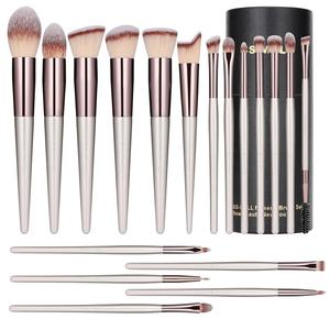 BS-MALL Champagne Gold Synthetic Cosmetic Brushes kit 18Pcs vegan makeup brushes set with bag